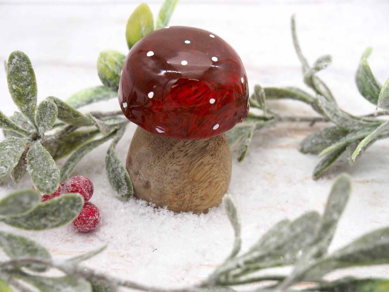 Fliegenpilz Holz Pilz Rot Deko Figur Advent Weihnachten Adventskranz Herbst Deko Tischdeko 2 Stück