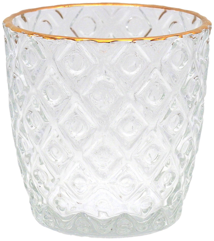 Kerzenhalter Teelichthalter Glas Windlicht klein Gold Deko Hochzeit Tischdeko 6 Stück