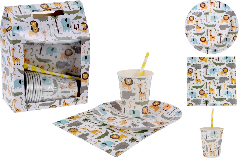Tischdeko Kindergeburtstag Tiere Afrika Deko Pappteller Pappbecher Servietten Partygeschirr Party 40 Teile