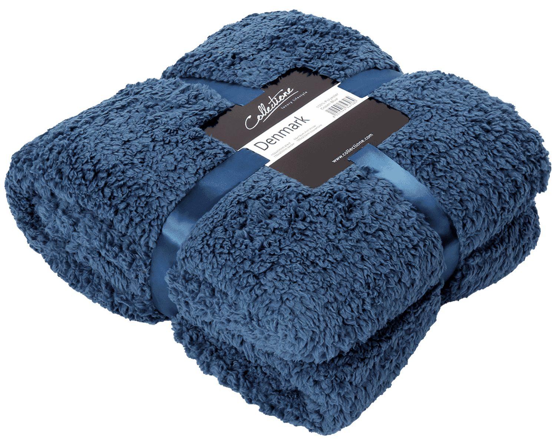 Decke Kuscheldecke Plaid Blau Wohndecke Tagesdecke Deko