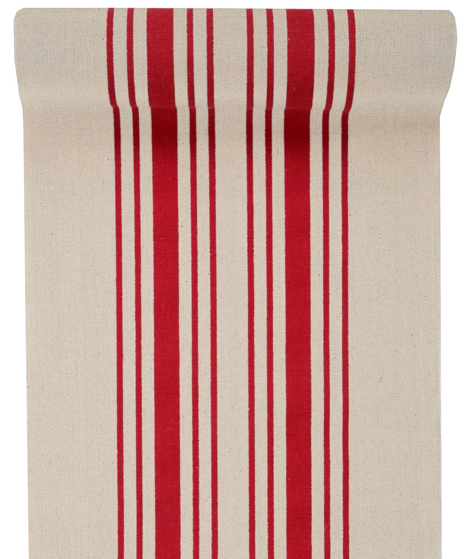 3m Tischläufer Tischband Leinen Baumwolle Streifen Rot Beige Maritim Deko