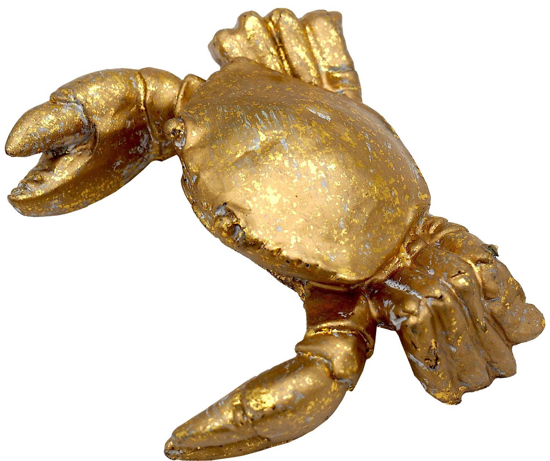 Deko Figur Krabbe Krebs Gold Tischdeko Sommer Maritim