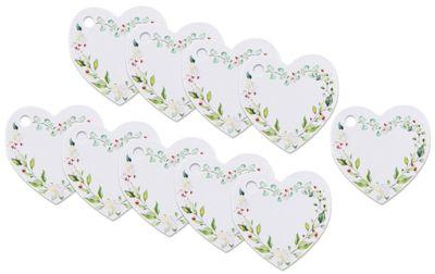 Anhänger Herz Eukalyptus Geschenkanhänger Namensschild Blätter Blumen Hochzeit 20 Stück