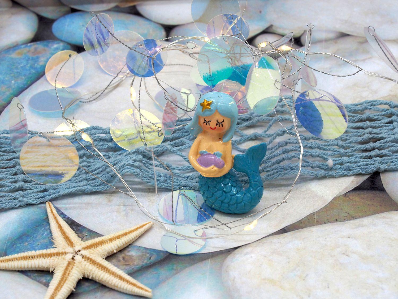 LED Lichterkette Punkte Holo Schimmernd Lila Rosa Blau Maritim Meerjungfrau Geburtstag