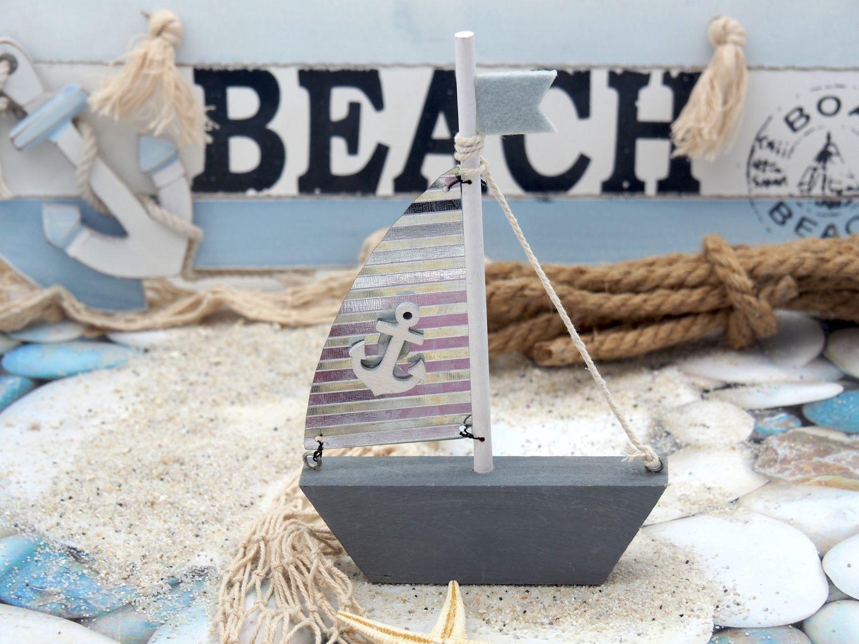 Schiff Segelboot Grau Taubenblau Boot Holz Metall Segel Maritim Deko Taufe Tischdeko Segeln Geschenk