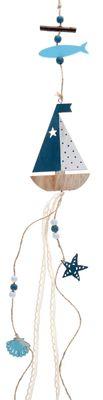 Girlande Holz Boot Blau Maritim Windspiel Anhänger Sommer Deko