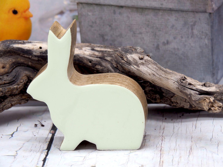 Hase Holz Dekofigur Gelb Grün Ostern Frühling Klein 1 Stück