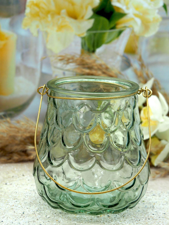 Windlicht mit Goldhenkel Salbei Dunkelgrün Schuppen Maritim Tischdeko Deko Glas 2 Stück
