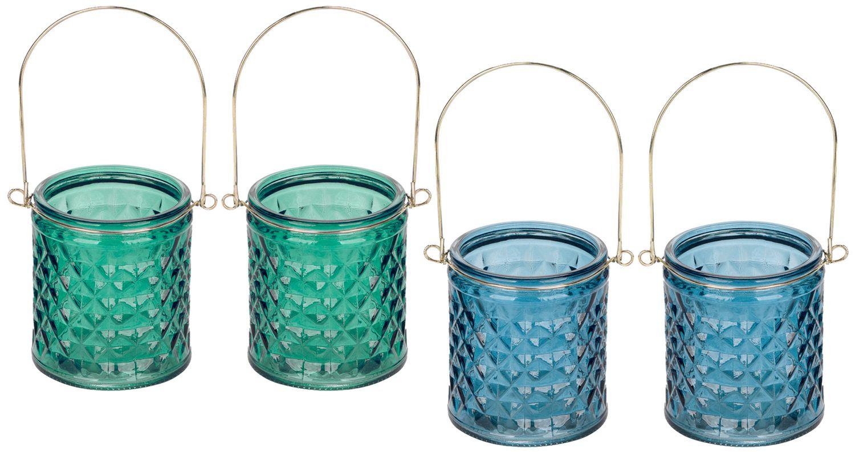 Windlicht mit Henkel Blau Grün Gold Kerzenhalter Maritim Deko Teelichthalter 2 Stück