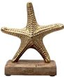 Seestern Metall auf Holzfuß Gold Glänzend Figur Tischdeko Maritim 1 Stück 1