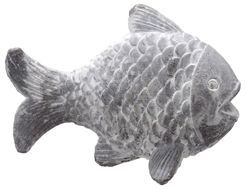 Fisch Grau Hellgrau Zement Beton Stein Stehend Tischdeko Maritim Deko