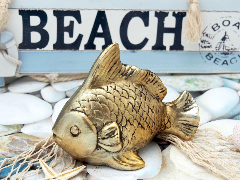 Fisch Keramik Gold Vintage Maritim Sommer 1 Stück