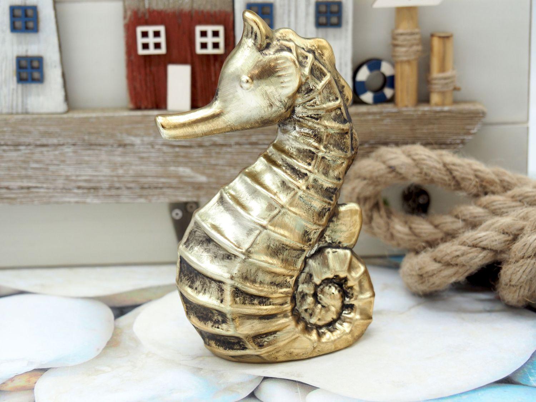 Seepferd Seepferdchen Keramik Gold Vintage Maritim Frühling Sommer Klein 1 Stück