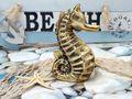 Seepferd Seepferdchen Keramik Gold Vintage Maritim Frühling Sommer Klein 1 Stück 5