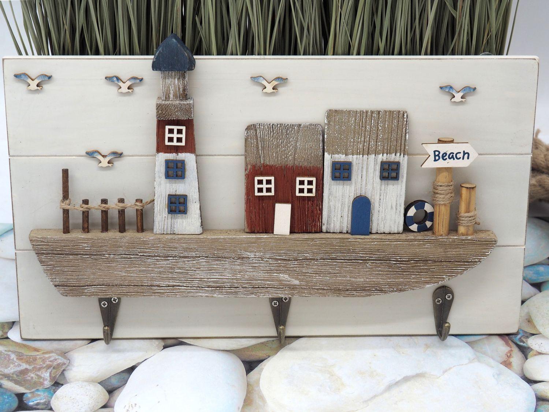 Kleiderhaken Deko Schlüsselbrett Garderobe Beach Küste Leuchtturm Möwe Maritim Sommer