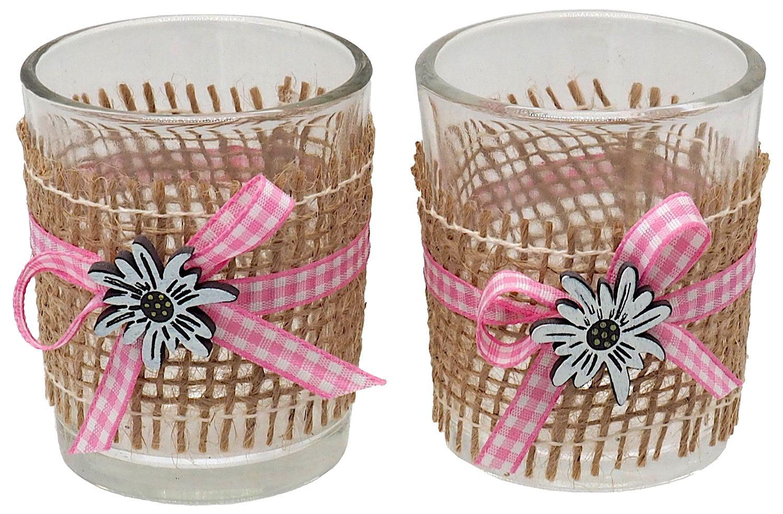 Kerzenhalter Teelichthalter Tischdeko Teelichtgläser Edelweiss Rosa Jute Weiss Oktoberfest Bayern 2 Stück