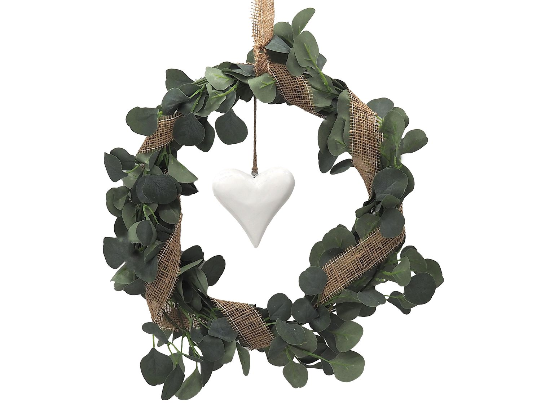 Eukalyptus Kranz Künstlich Türdeko Frühling Sommer Grün Herz Weiß Hochzeit Kommunion Konfirmation Deko