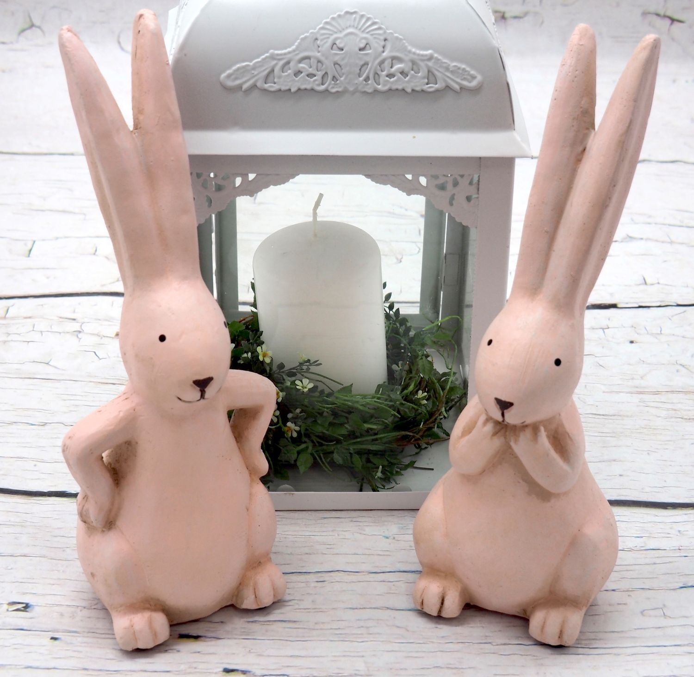 Hase Hasenpaar Deko Figur Sitzend Pink Rosa Osterhase Tischdeko 2 Stück