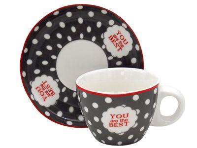 Espresso Tassen mit Untersetzer Espressotassen Grau Weiß Gepunktet Rot You Are The Best Tischdeko Porzellan 6 Stück