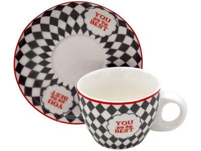Espressotassen Grau Weiß Karo Rot Espresso Tassen mit Untersetzer You Are The Best Tischdeko Porzellan 6 Stück