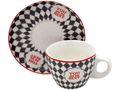 Espressotassen Grau Weiß Karo Rot Espresso Tassen mit Untersetzer You Are The Best Tischdeko Porzellan 6 Stück 1