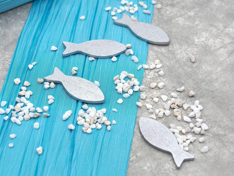 Tischdeko Kommunion Konfirmation Türkis Blau Silber Weiß Grau Fisch SET 20 Personen