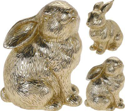 Hase Deko Gold Hasen Sitzend Hasenpaar Tischdeko Frühling 2 Stück