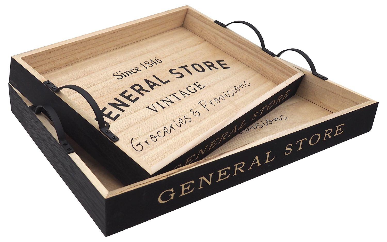 """Tablett Holz Groß oder Klein Tischdeko Braun Innen Schwarz Außen """"General Store"""" Servierbrett"""