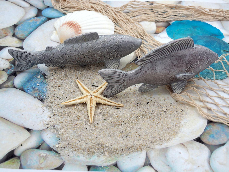 Fisch Deko Figur Silber Grau Weiß Glänzend Dick Lang Tischdeko Maritim Deko 2 Stück