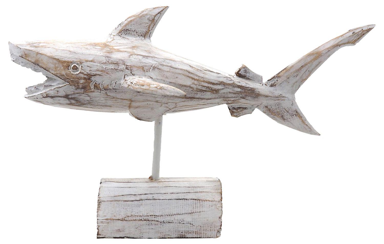 Hai Holz Weiß Weißer Hai Aufsteller Tischdeko Maritim Deko Figur Sommer Party