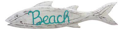Fisch Deko Beach Holz Schild Türkis Weiß Wanddeko Türdeko Maritim Deko Sommer