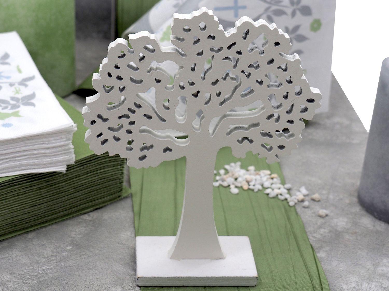 Tischdeko Kommunion Konfirmation Grün Weiß Grau Baum des Lebens SET 20 Personen