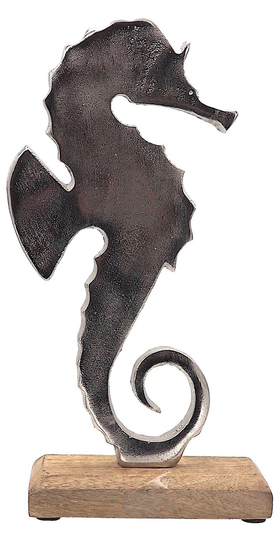 Seepferdchen Deko Figur 27cm Aluminium Silber Grau auf Sockel Aufsteller Maritime Deko Tischdeko
