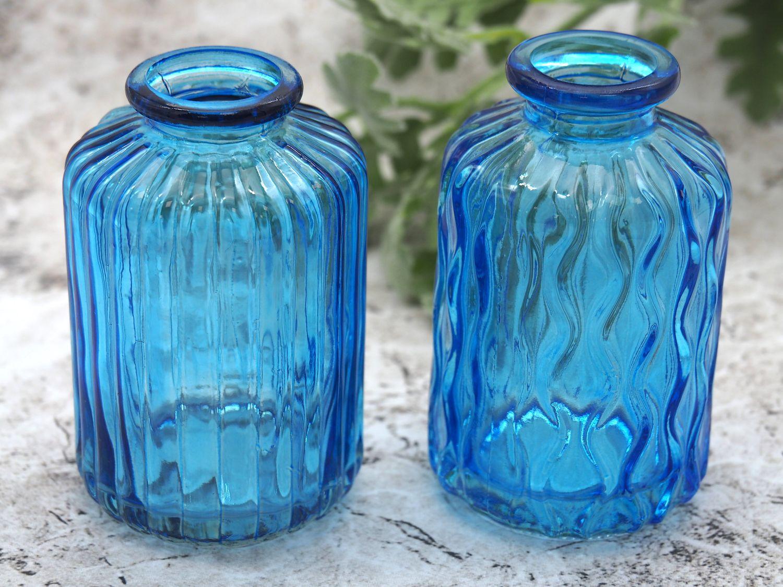 Vase Glasvase Blau Gestreift Gewellt Blumenvase Maritime Deko Tischdeko  2 Stück