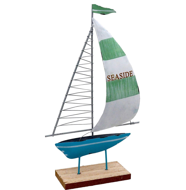 "Segelboot ""Seaside"" Segel Grün Boot Blau Metall auf Holzfuß Tischdeko Maritime Deko"