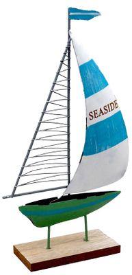 "Segelboot ""Seaside"" Segel Hellblau Boot Grün Metall auf Holzfuß Tischdeko Maritime Deko"