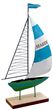 "Segelboot ""Seaside"" Segel Hellblau Boot Grün Metall auf Holzfuß Tischdeko Maritime Deko 1"