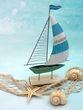 "Segelboot ""Seaside"" Segel Hellblau Boot Grün Metall auf Holzfuß Tischdeko Maritime Deko 4"