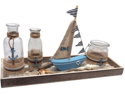 Tablett Maritime Deko Tischdeko Segelboot Vasen Sommer Blau Braun Garten Terrasse
