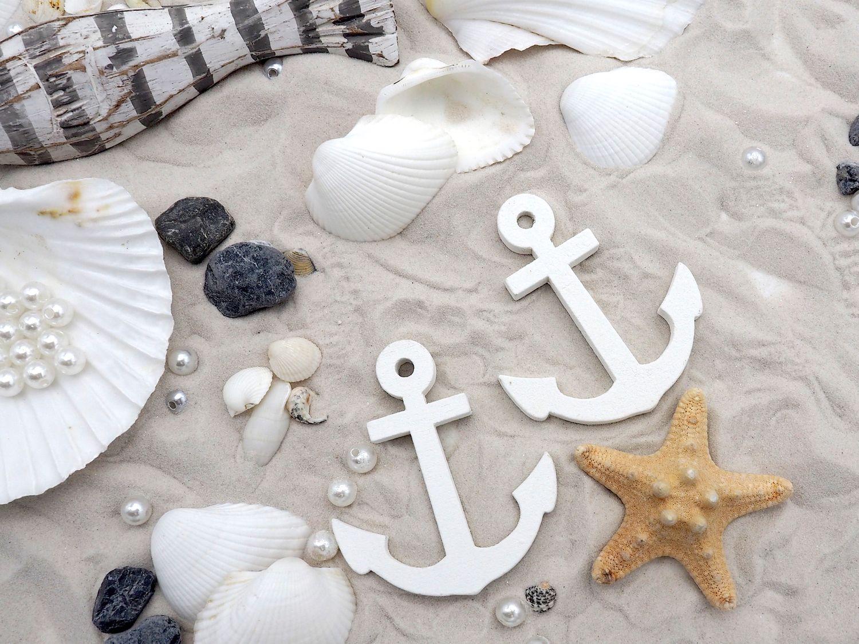 Tischdeko Maritim Streudeko MIX Sand Muscheln Anker Seesterne Fische Grau Weiß Gestreift Deko 700g