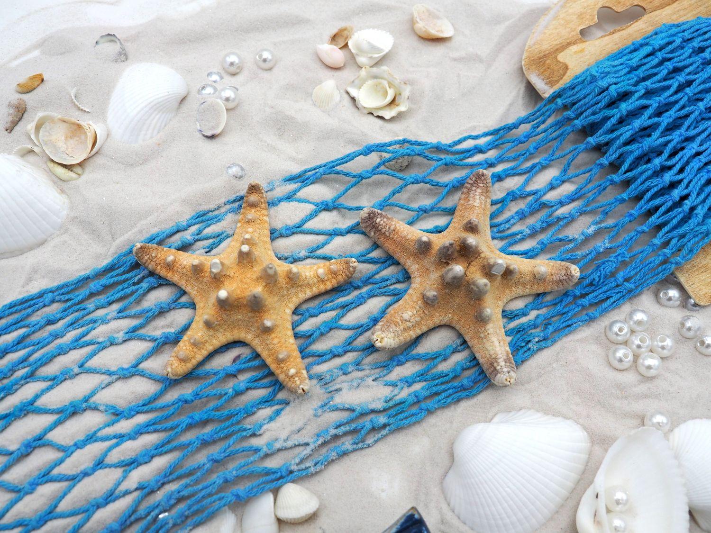 Tischdeko Maritim Streudeko MIX Sand Muscheln Anker Seesterne Fische Blau Netzband Deko 650g