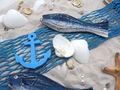 Tischdeko Maritim Streudeko MIX Sand Muscheln Anker Seesterne Fische Blau Netzband Deko 650g 2