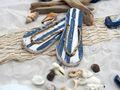 Tischdeko Maritim Streudeko MIX Sand Muscheln Seepferdchen Zehentrenner Blau Weiß gestreift Netzband Natur Deko 650g 2