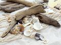 Tischdeko Maritim Streudeko MIX Sand Muscheln Holz Anker Fische Weiß Zehentrenner Türkis gestreift Deko 650g 7