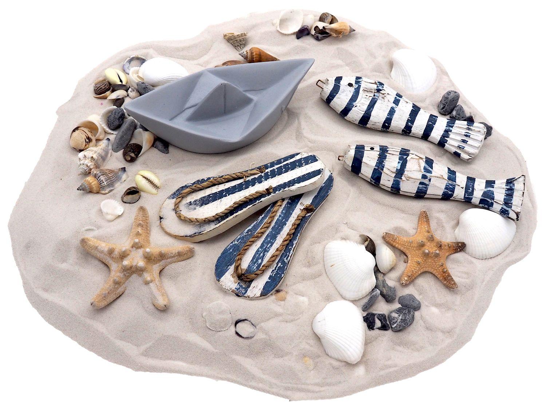 Streudeko MIX Tischdeko Maritim Sand Muscheln Boot Grau Fische Blau Weiß Zehentrenner gestreift Deko 850g