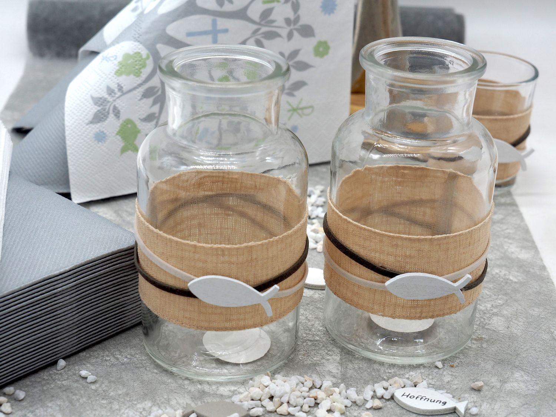 Vase Tischdeko Fisch Leinen Natur Grau Weiß Kommunion Konfirmation Deko 2 Stück