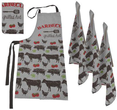 Schürze Geschirrtuch Grau Küchentuch Handtuch Set 4teilig Küche BBQ Grillen
