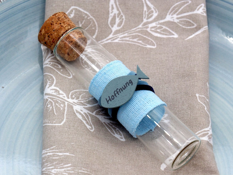 Glasröhrchen Gastgeschenke Blau Fisch Tischdeko Kommunion Konfirmation Taufe 8 Stück