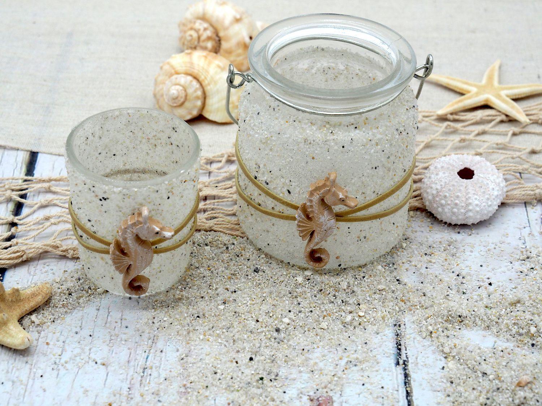 Windlicht Teelicht Kerzenhalter Seepferchen Sand Creme Maritime Deko Tischdeko