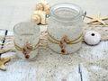 Windlicht Teelicht Kerzenhalter Seepferchen Sand Creme Maritime Deko Tischdeko 2